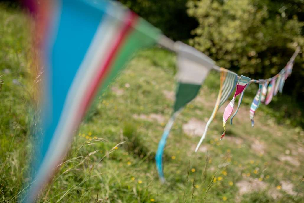A photo of brightly coloured bunting