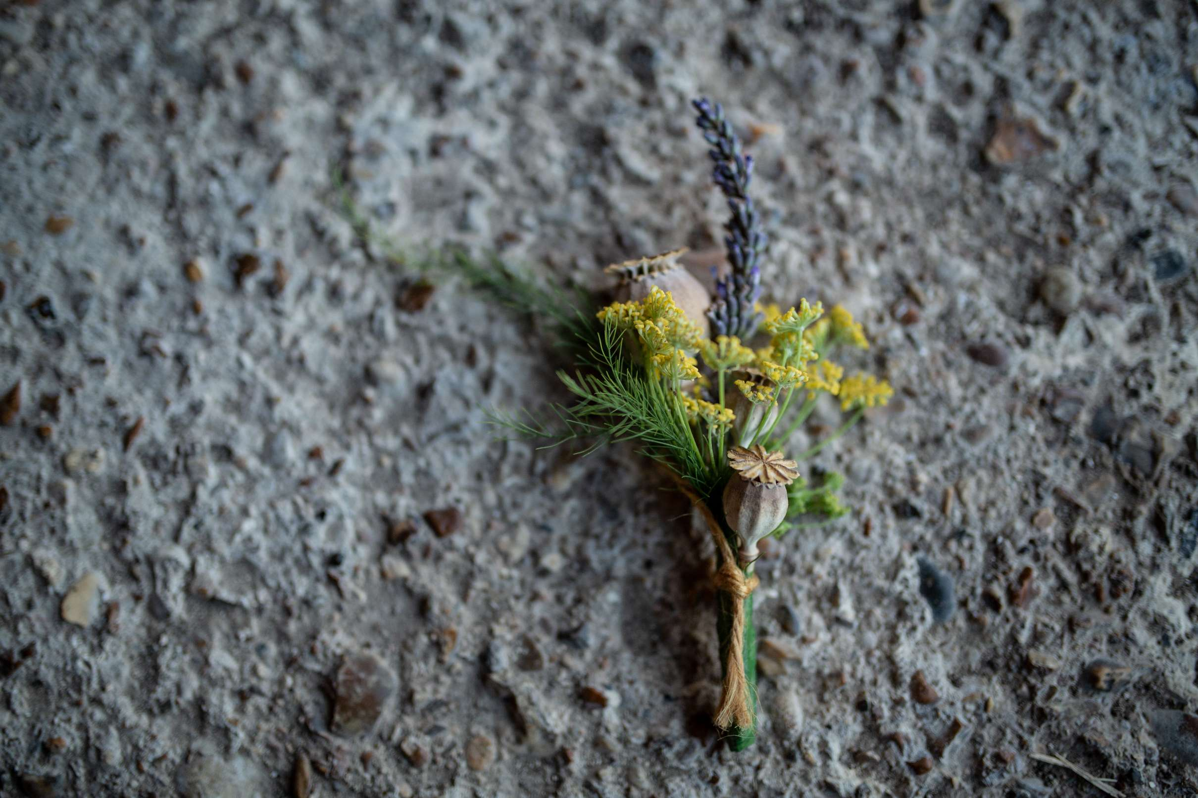 A wedding photo in Chichester of a buttonhole against a concrete backdrop, taken at Chidham barn, Chichester