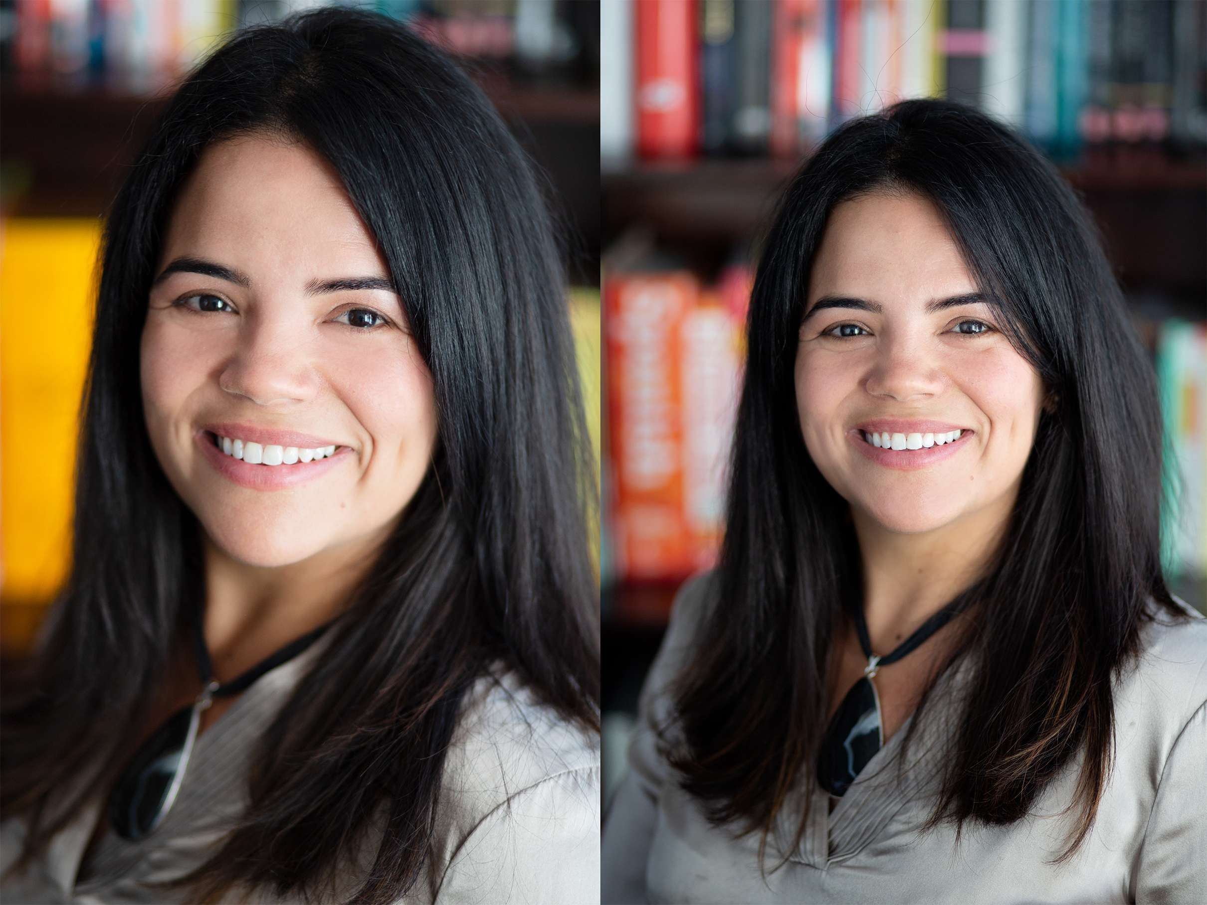 Two headshot portrait photos of a woman standing in front of a colourful bookcase, taken in Chichester, West Sussex
