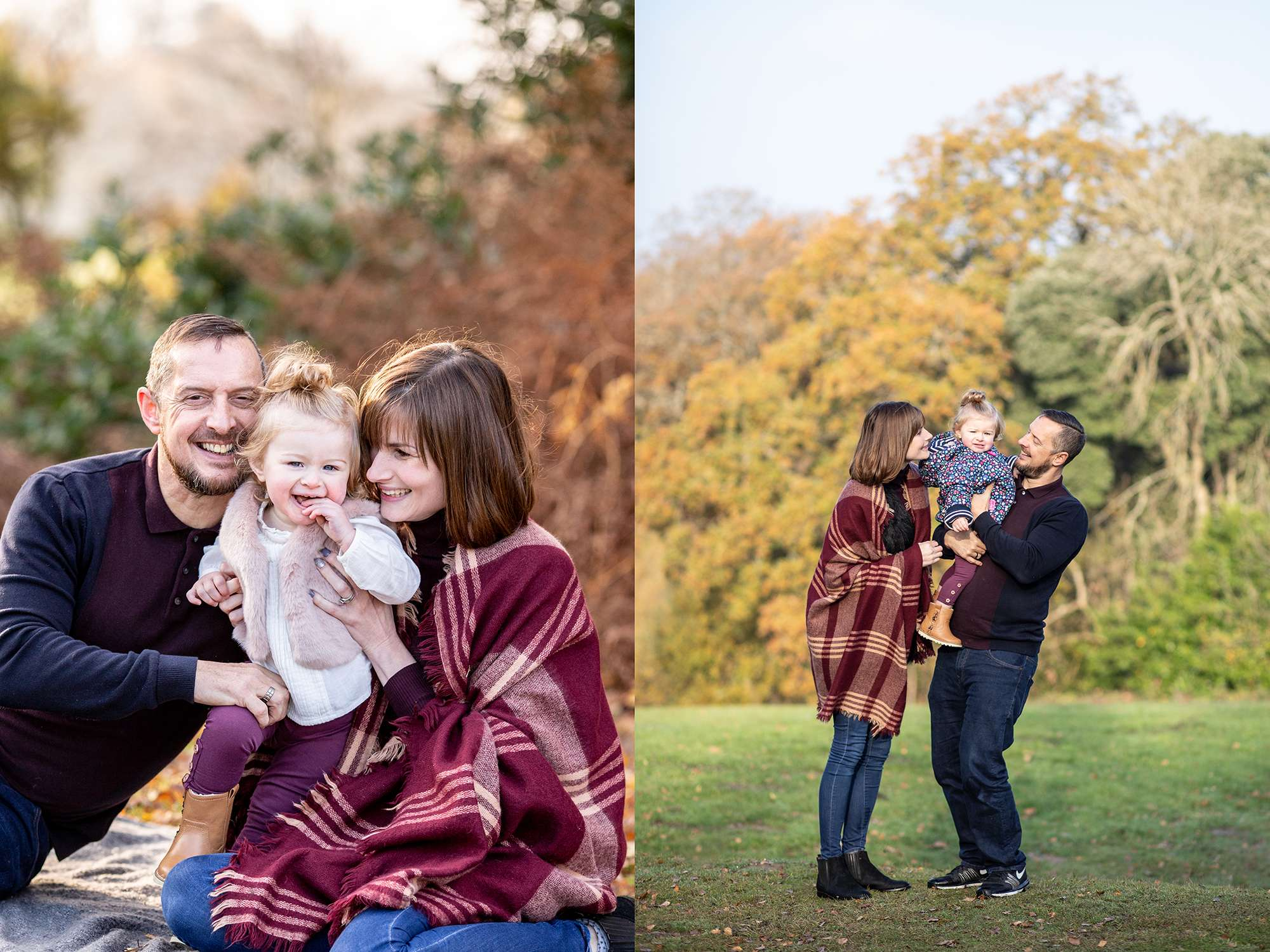 A lifestyle portrait photo of a family with a toddler in a park
