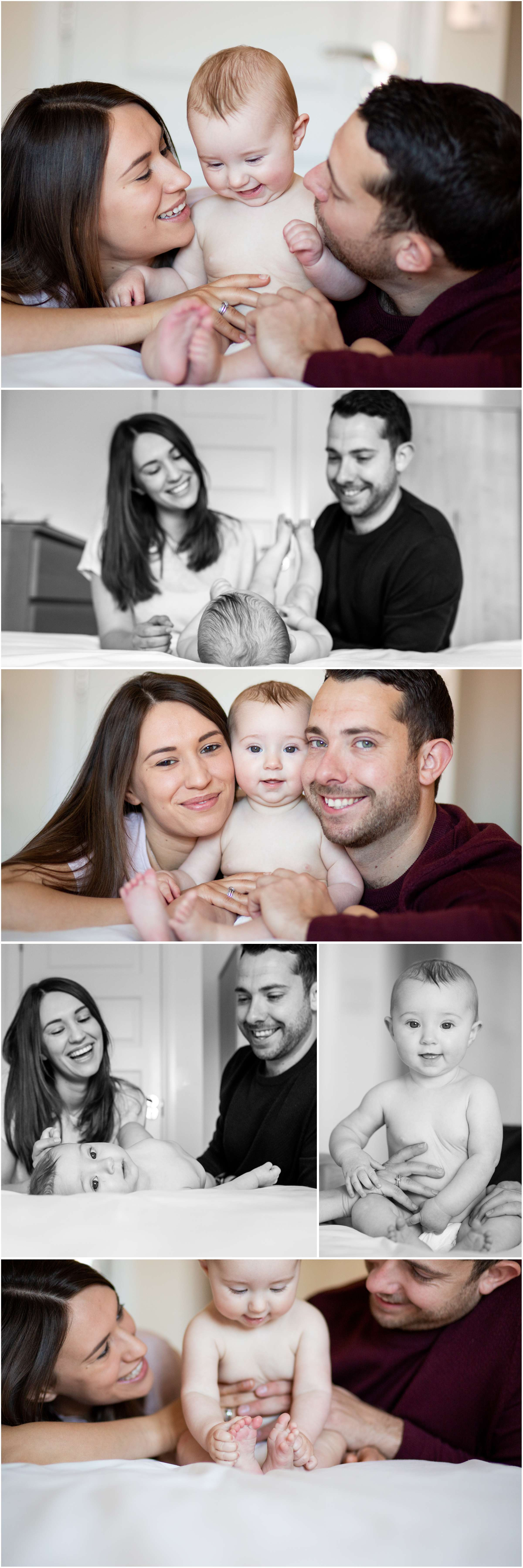A collection of family lifestyle portrait photos taken at home