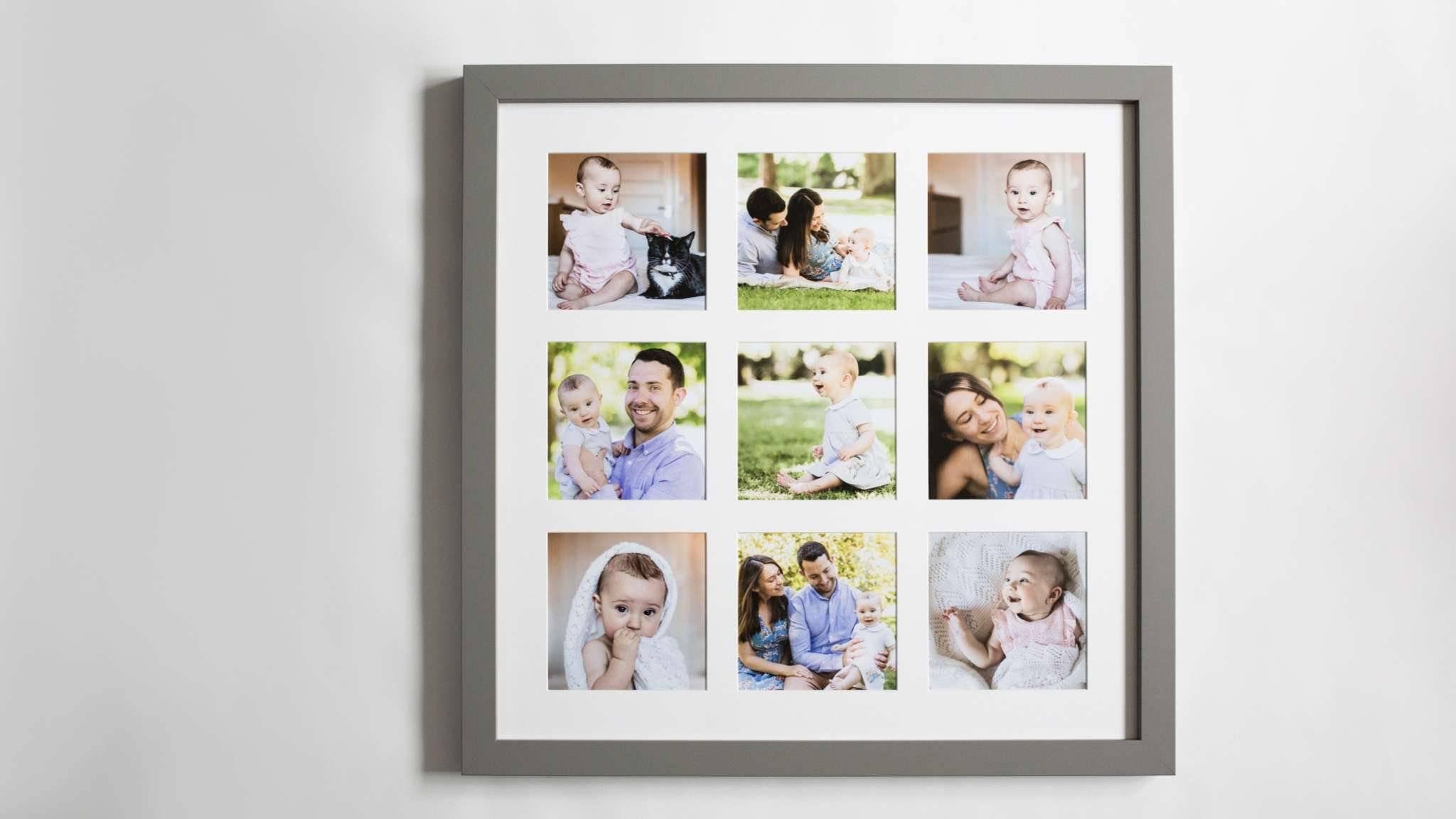 A photo of a framed collection of family portrait photos / family portrait photo montage