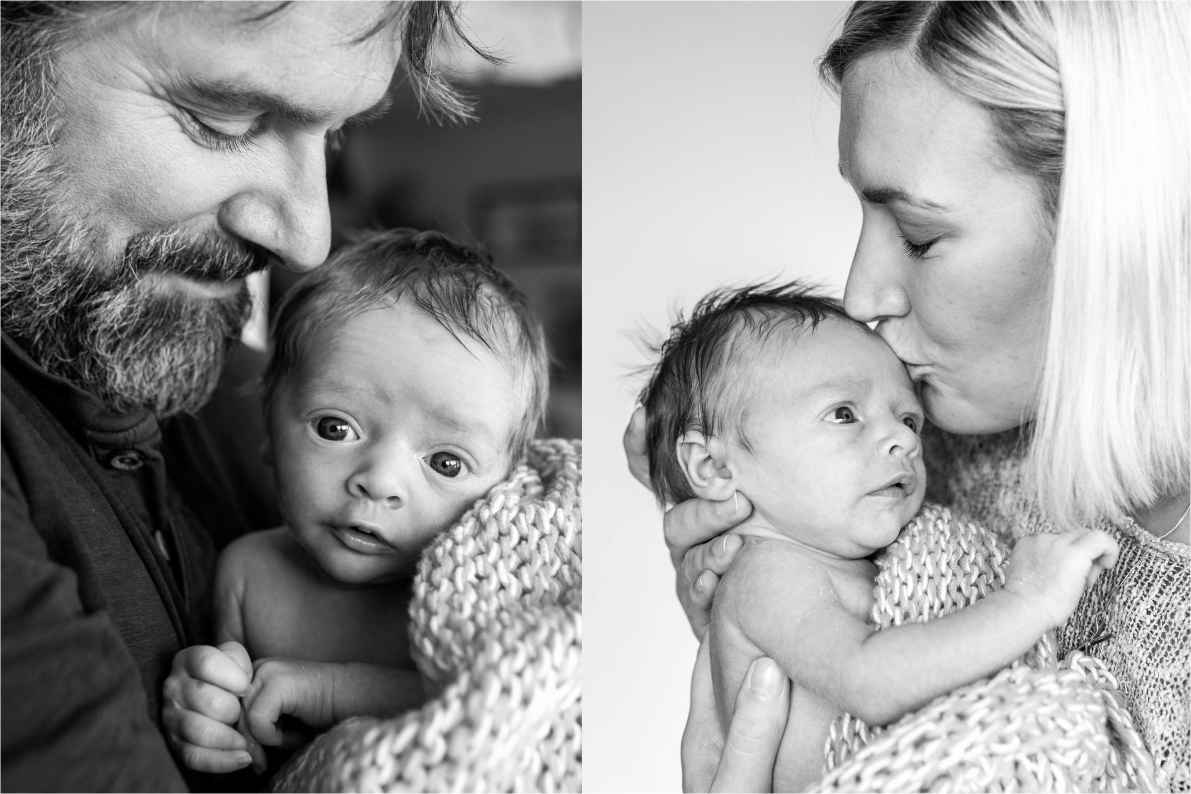 A family portrait photo of a Newborn baby at home in Chichester