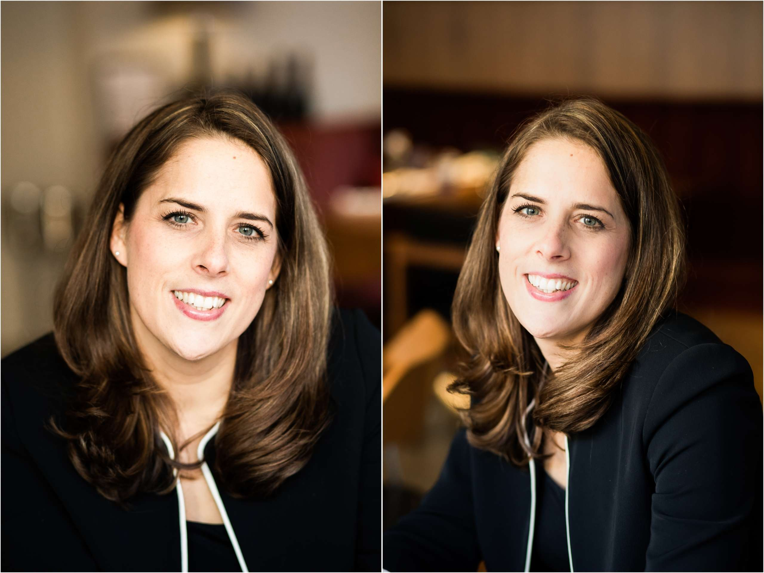 Two headshot portrait photos of a female professional, taken in Chichester, West Sussex