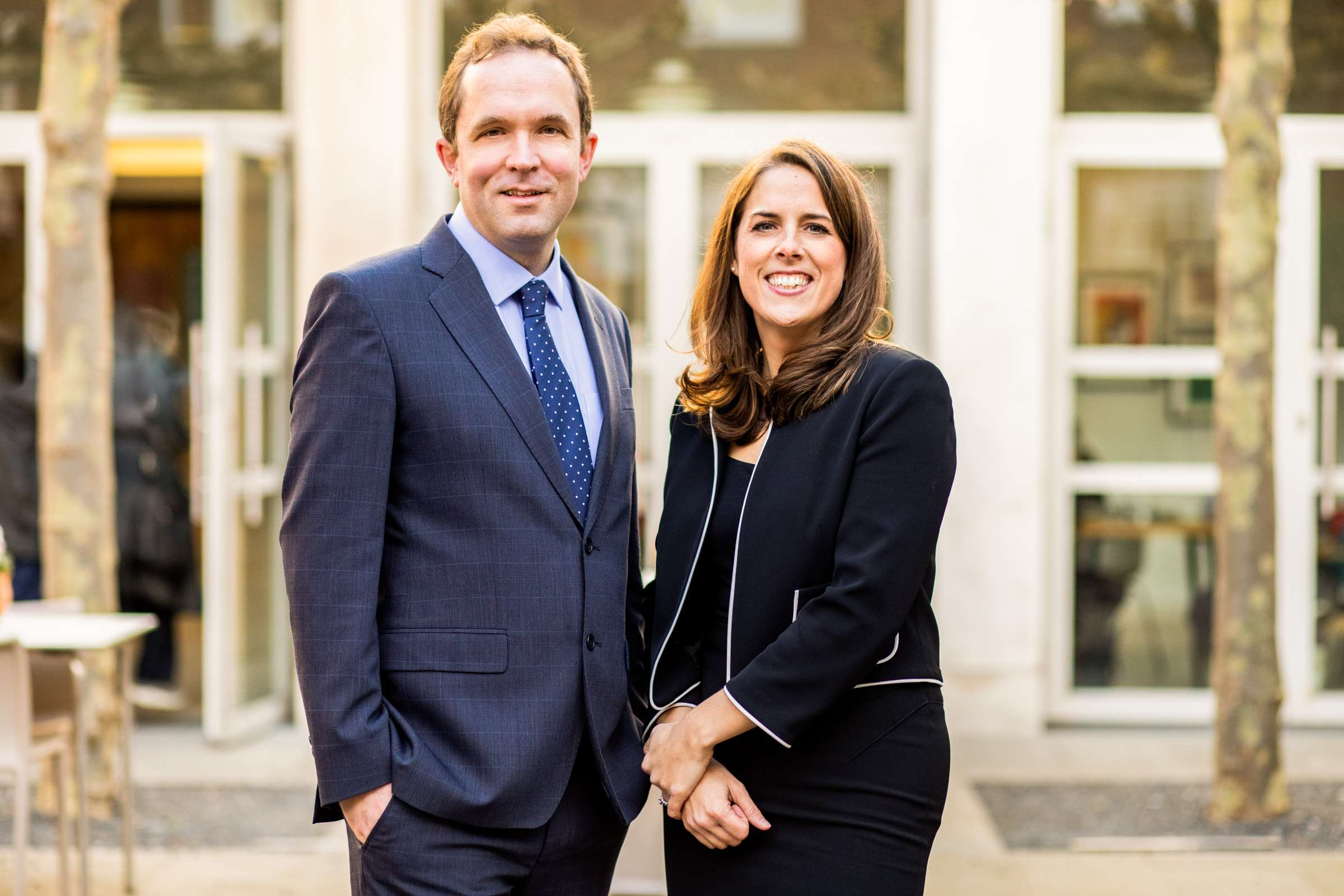 A headshot portrait of a male and a female professional, taken in Chichester, West Sussex