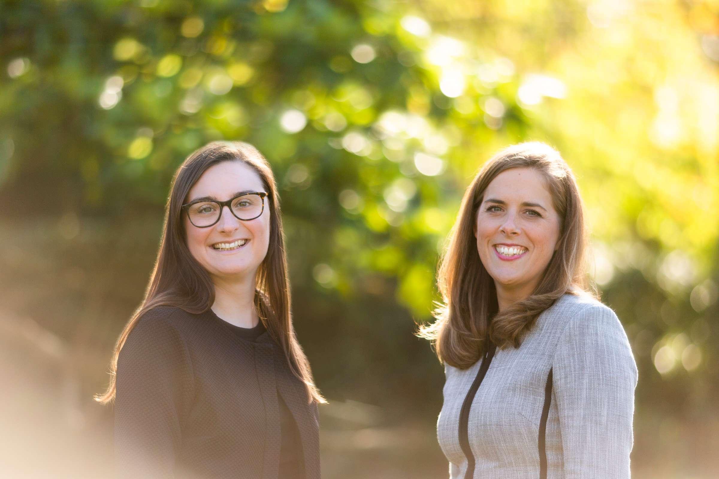headshot portrait of two female professionals taken in Chichester, West Sussex