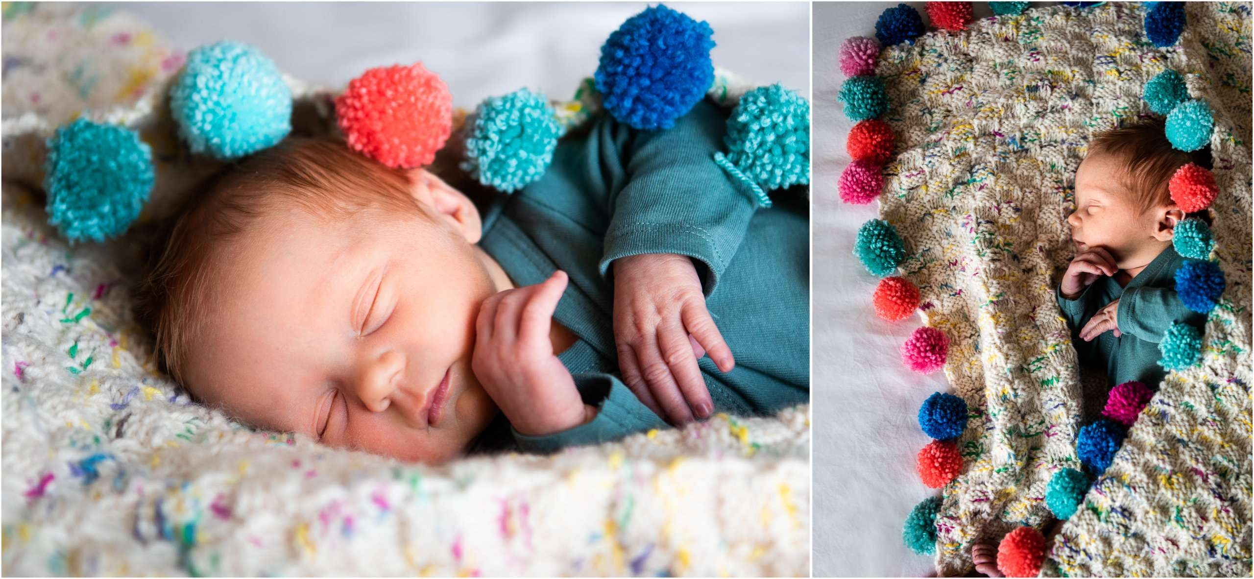 Two portrait photos taken at home of a newborn baby asleep in a pom pom blanket, taken in Chichester, Sussex